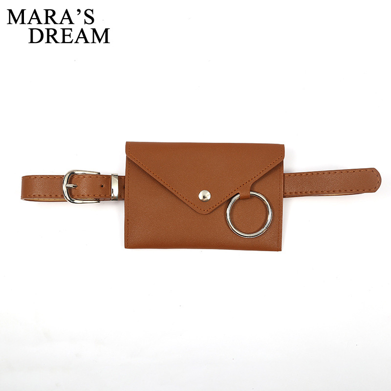 Mara's Dream 2019 New Solid Color Fashion Creative Ring Envelope Bag Phone Bag Belt Ladies Decorative Personality Belt Bag