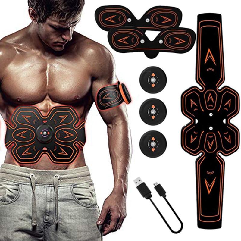 ABS Stimulator Muscle Toner Abdominal Toning Belt Electrostimulation EMS Training Home Office Fitness Equipment (USB Charging)