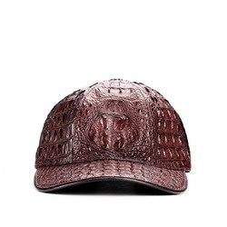 Casquette en cuir crocodile unisexe   Casquette de baseball décontractée, casquettes réglables 100%