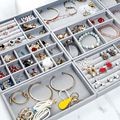Velvet Rings Earrings Organizer Tray Ear Studs Jewelry Display Stand Holder Rack Showcase Plate Fashion Jewelry Box 4pcs
