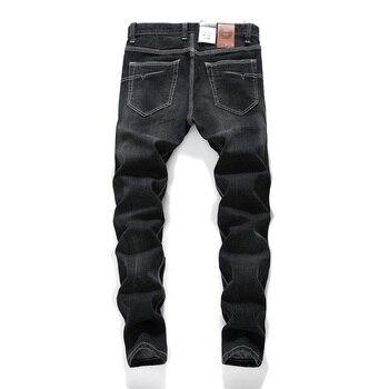 цена на Jeans Men Classic  Mens Zipper Jeans Black Fashion Little feet Jeans  Ripped Hole Jeans For Men Biker Jean Long Pants 28-42