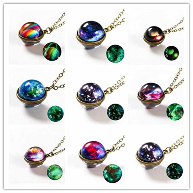 Nebula Galaxy Noctilucent Double Sided Pendant Necklace Glass Art Picture Handmade Statement Universe Planet Jewelry For Women