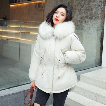 New jacket winter with big fur collar winter coat women parkas Loose Clothes with Hats and Large Size jkp 2018 autumn and winter new stars with the same coat genuine rabbit fur coat big raccoon fur collar children s jacket ct 16