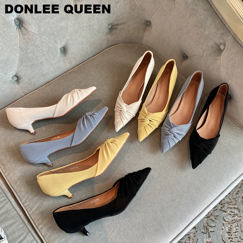 2020 New Spring Shoes Women Pointed Toe Med Thin Heels Pumps Elegant Pleated Shoes Party Wedding Work Female Shoes Zapatos Mujer