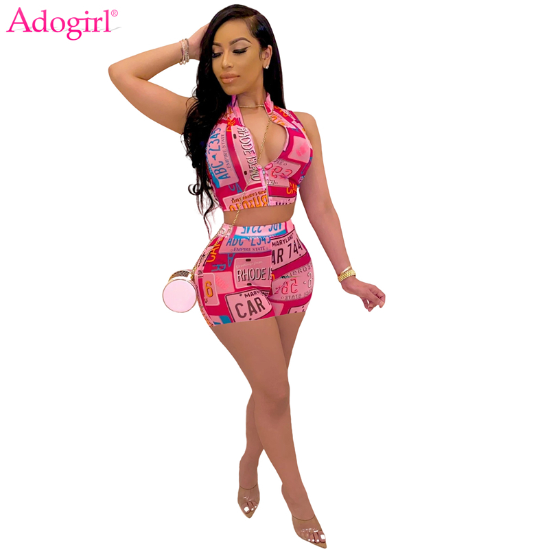Adogirl Letter Print Women Tracksuit Zipper Sleeveless Tank Crop Top And Shorts Summer Casual Two Piece Set Home Apparel