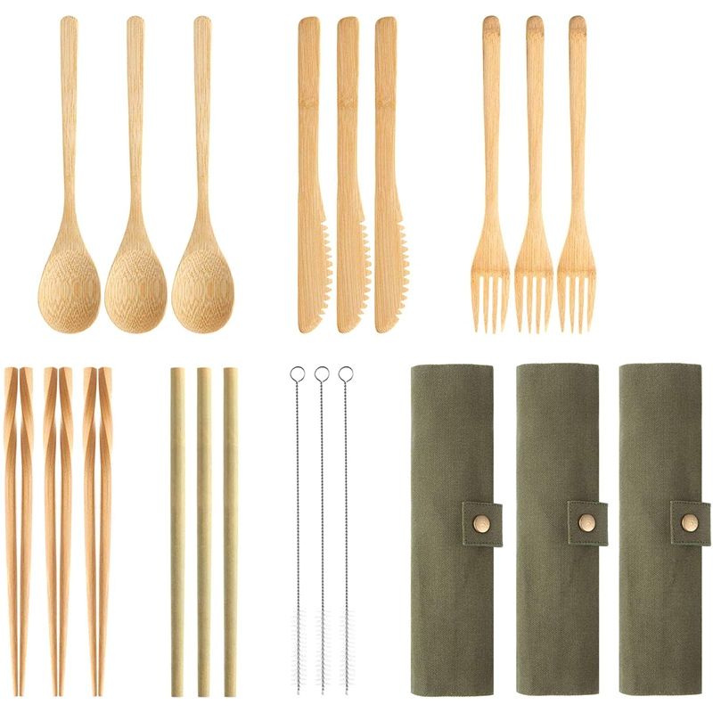 3Set Bamboo Cutlery Set  Reusable Bamboo Utensil Include Knife  Fork  Spoon  Chopsticks  Reusable Straw for Travel Picnic Office|Flatware Sets| |  - title=