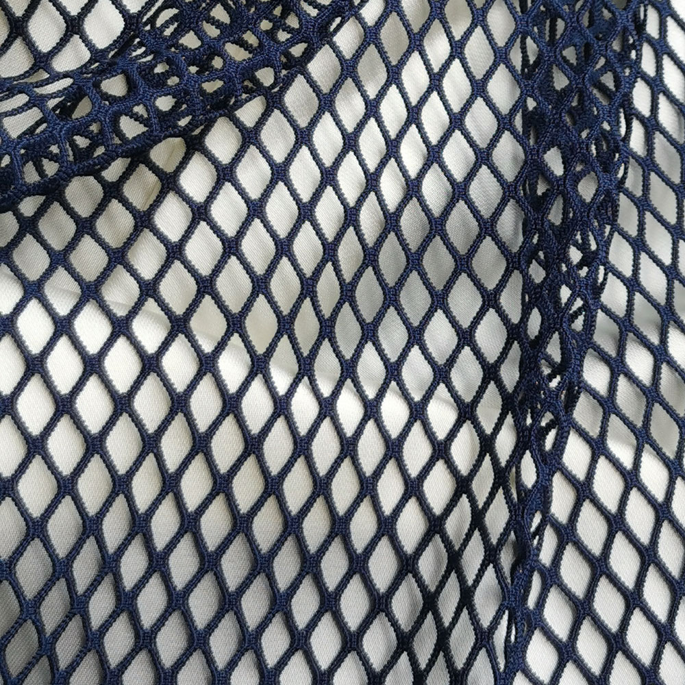 High Quality Navy Blue Spandex Mesh Net Fabric Stretch Lattice Garment Hollow Tulle Tissue Plaid Masquerade Diamond Shaped