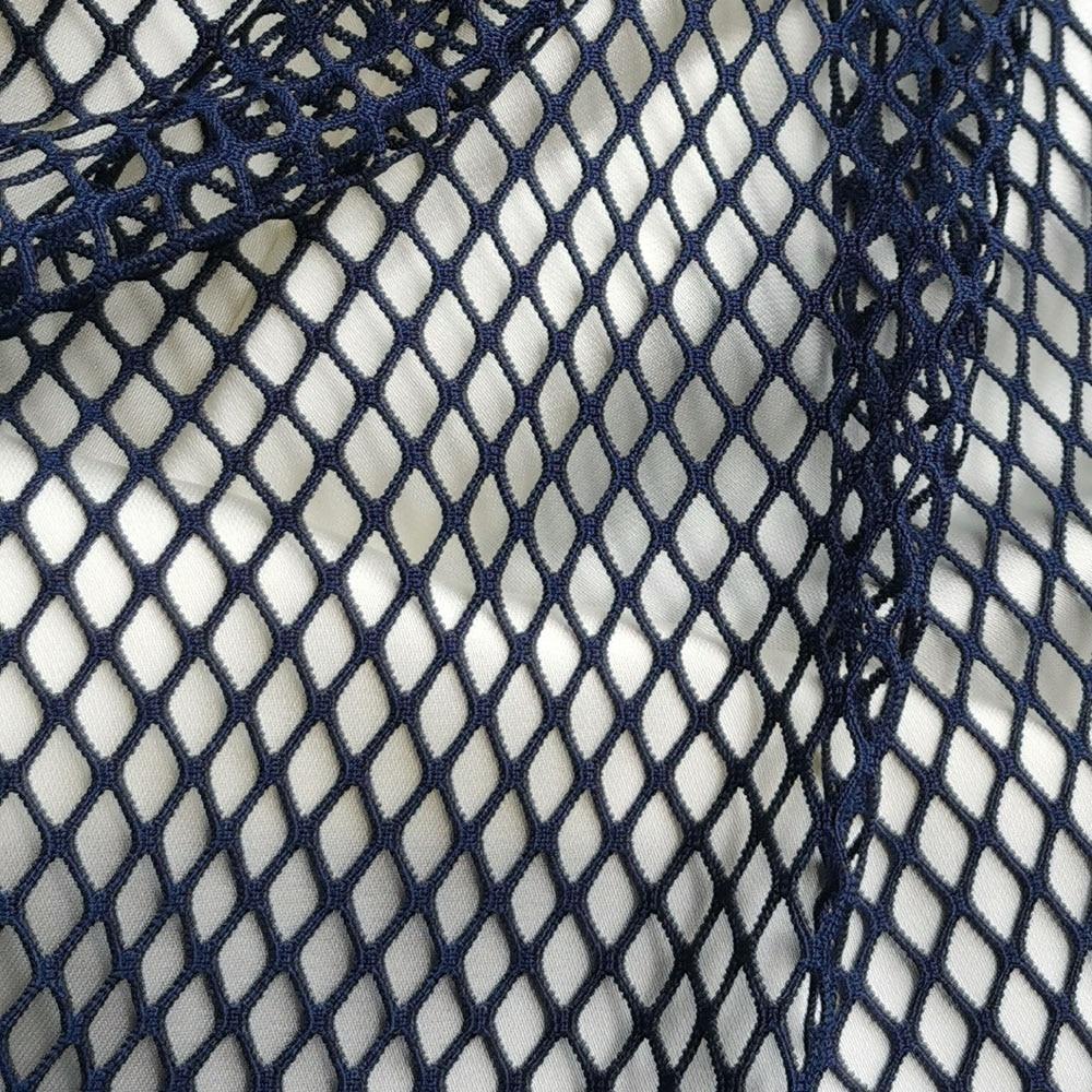 High Quality Navy Blue Spandex Mesh Net Fabric Stretch Lattice Garment Hollow Tulle Tissue Plaid Masquerade Diamond Shaped