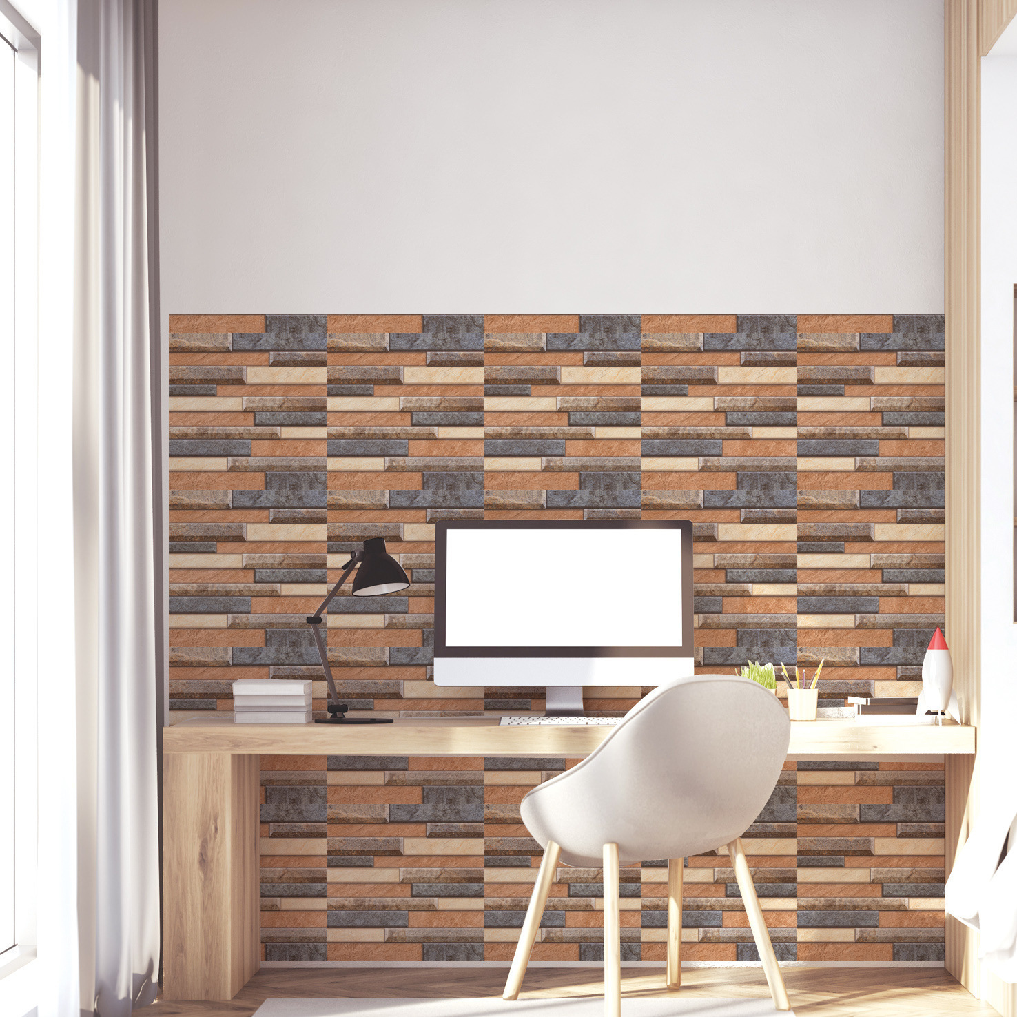 3D Simulation Brick Wall Stickers Retro Nostalgia Bedroom Living Room Bathroom Wall Decoration Three dimensional Tile Stickers B in Wall Stickers from Home Garden