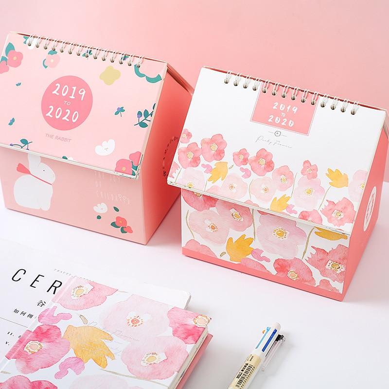 2019 Mini Calendar Creative Desk Calendar Multifunction House Shape Calendar Diary Planner For Kids Storage Box Office Supplies