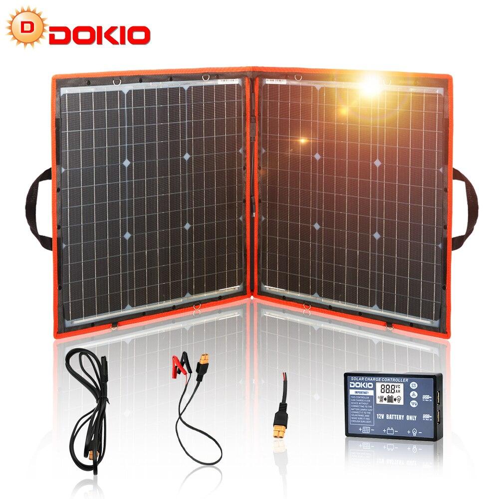 Dokio 80 ワット (40*2 個) 18 12v 柔軟な折りたたみソーラーパネル + 12 v/24 v ソーラーコントローラポータブルソーラーパネルキャンプ/旅行