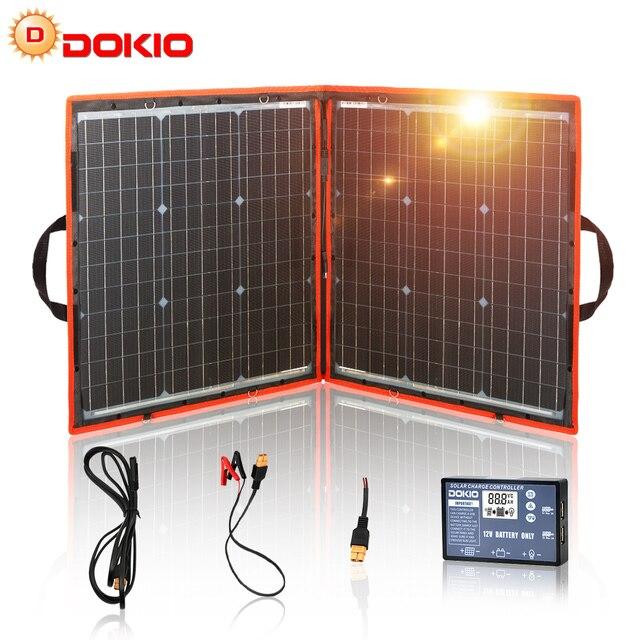 Dokio 80W (40*2pcs) 18V 유연한 접이식 태양 전지 패널 + 12V/24V 태양 컨트롤러 캠핑/여행에 대 한 휴대용 태양 전지 패널