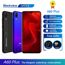 Blackview a60 plus smartphone quad core android 10 4080mah celular 4gb + 64gb waterdrop tela 8mp camere duplo 4g telefone móvel