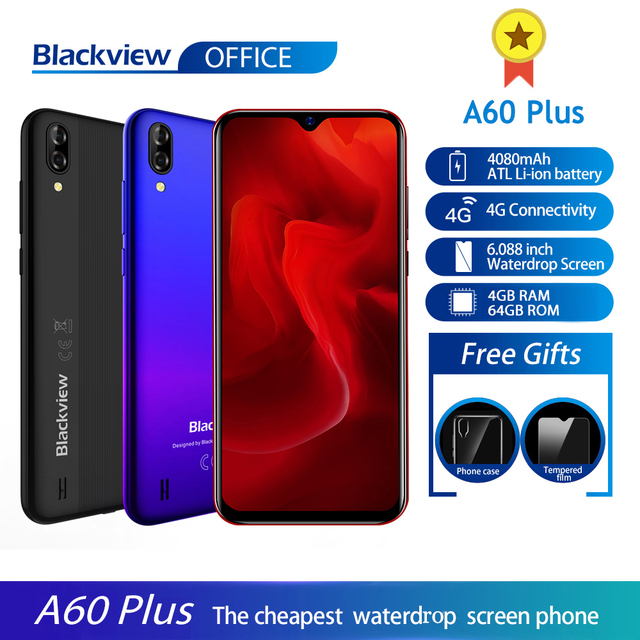 Blackview A60 Plus Smartphone Quad Core Android 10 4080mAh Cellphone 4GB+64GB Waterdrop Screen 8MP Dual Camere 4G Mobile Phone