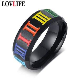 Кольца для гомосексуальных пар, мужские и женские, радужные, разноцветные, из нержавеющей стали, для свадьбы, Lebian & gay, Прямая поставка