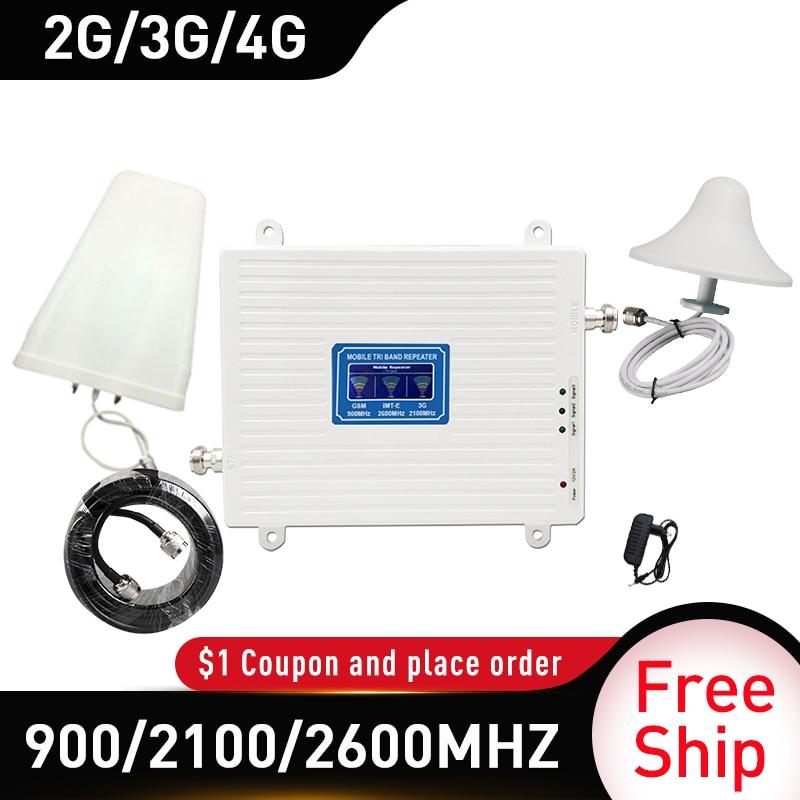 4g Signal Booster 900/2100/2600 GSM UMTS WCDMA FDD LTE 2G 3G 4G Cellular Mobile Signal Booster Amplifier 4G Antenna