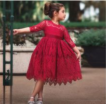 Teenage Girls Summer Children's Clothing Party Elegant Princess Long Tulle Baby Kids Lace Wedding Ceremony Dresses 3-7Y #0090