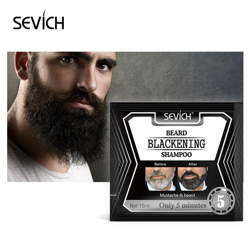 Sevich 5Mins Blackening Beard Shampoo Dye Beard Into Black 15ml Herb Natural Faster Blackening Beard Coloring Grey Removal TSLM2 1