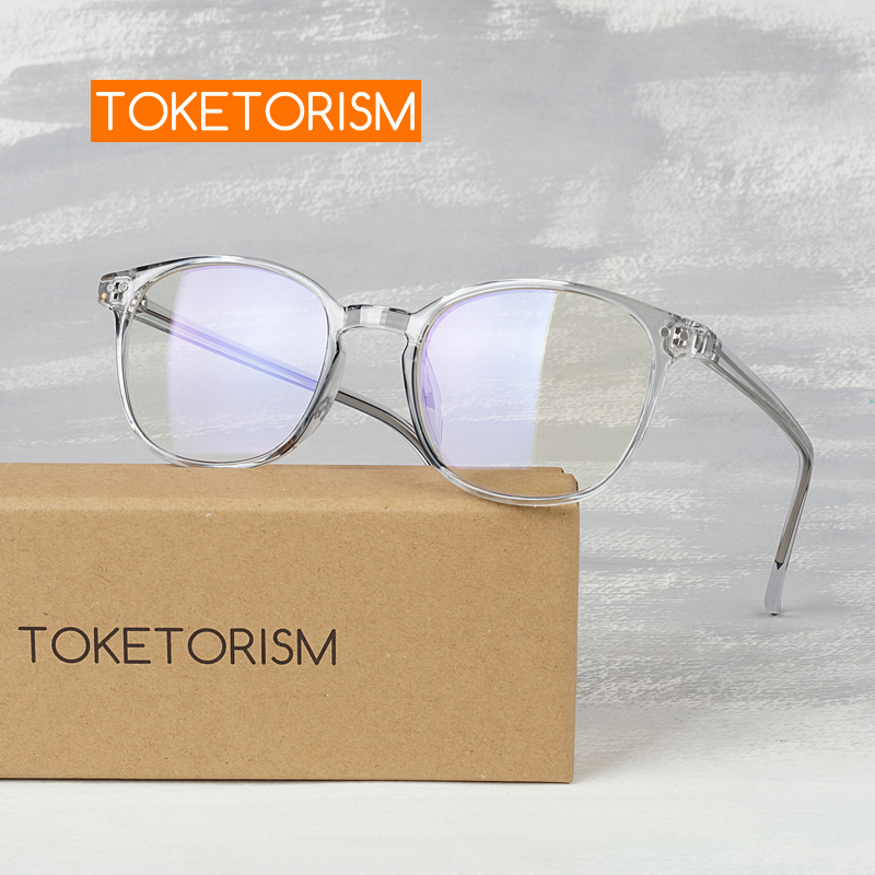 Toketorism Female Square Plain Glasses For Beauty Optical Miopia Man's Eyeglasses Frames