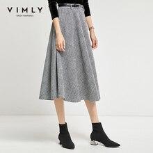 Plaid Skirt Vimly Women A-Line Elegant Vintage High-Waist Office Lady Mid-Calf 98897