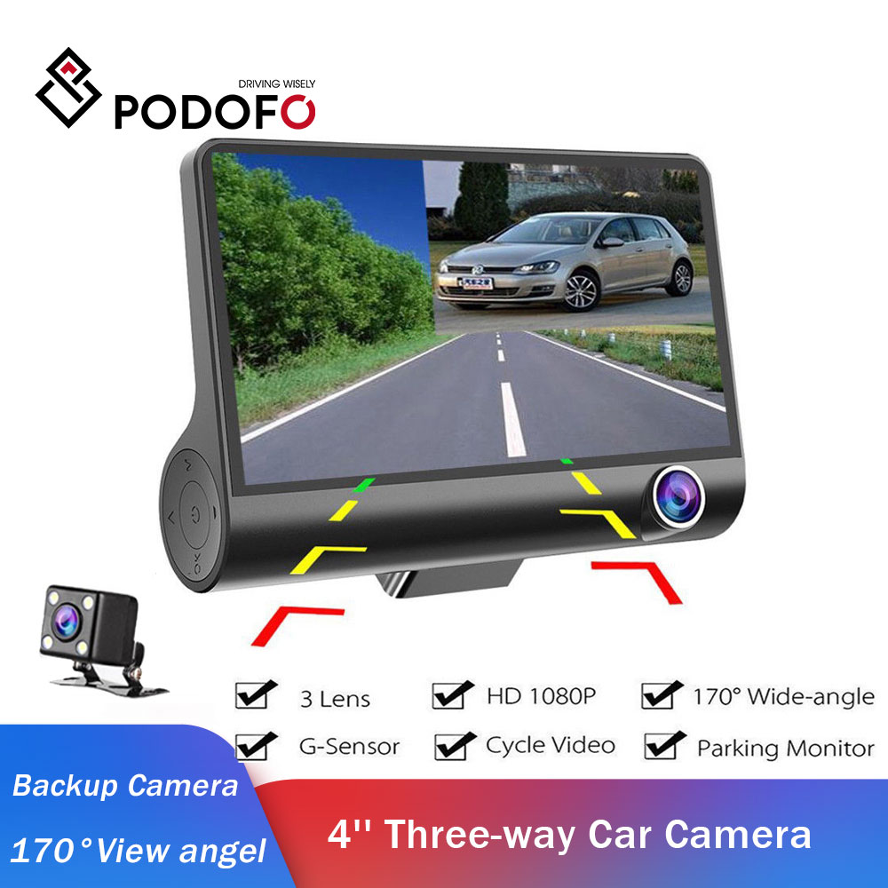 Podofo Auto Kamera 4'' Drei-weg Video Registrator 170 grad Weitwinkel Dash Cam Video Recorder G-sensor dashcam für Auto DVR cam