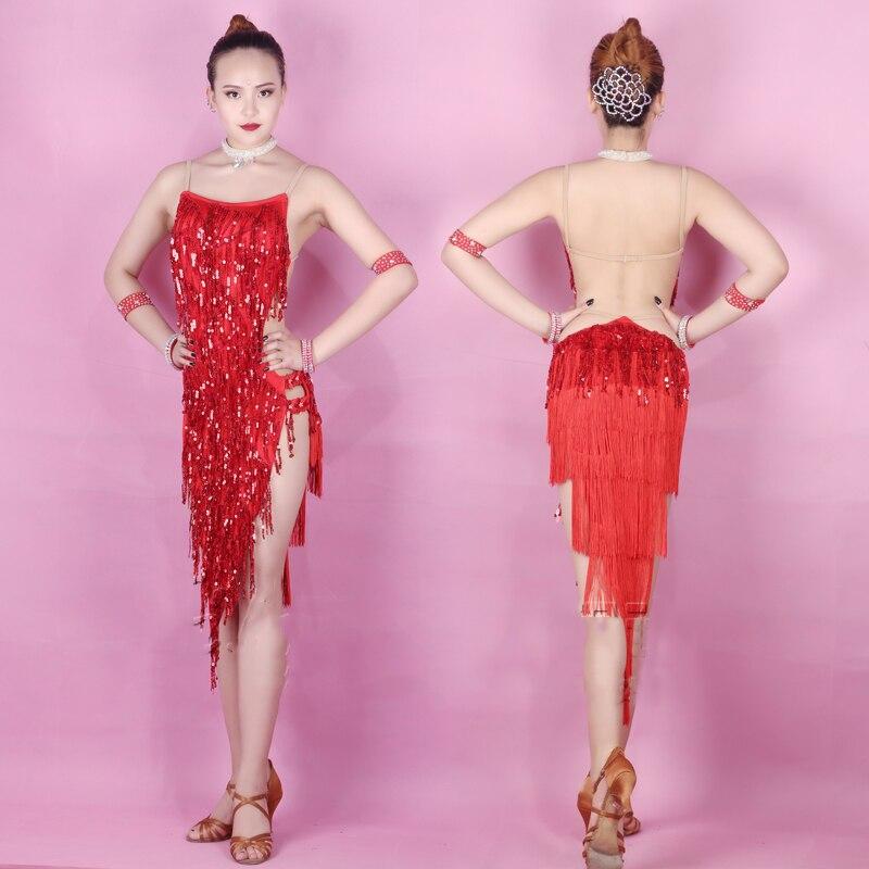 New Latin Dress Women Costume Red Dress For Stage Sequins Fringe Dress Latin Dance Skirt Flamenco Cowboy Red Dance Dress BL2001