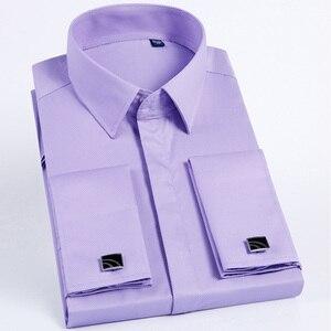 Image 4 - Jbersee Plus Size Homens Modas Francês Punho da Camisa De Luxo Homens Marca Slim Fit Casuais de Manga Comprida Vestido de Festa de Casamento Dos Homens camisas