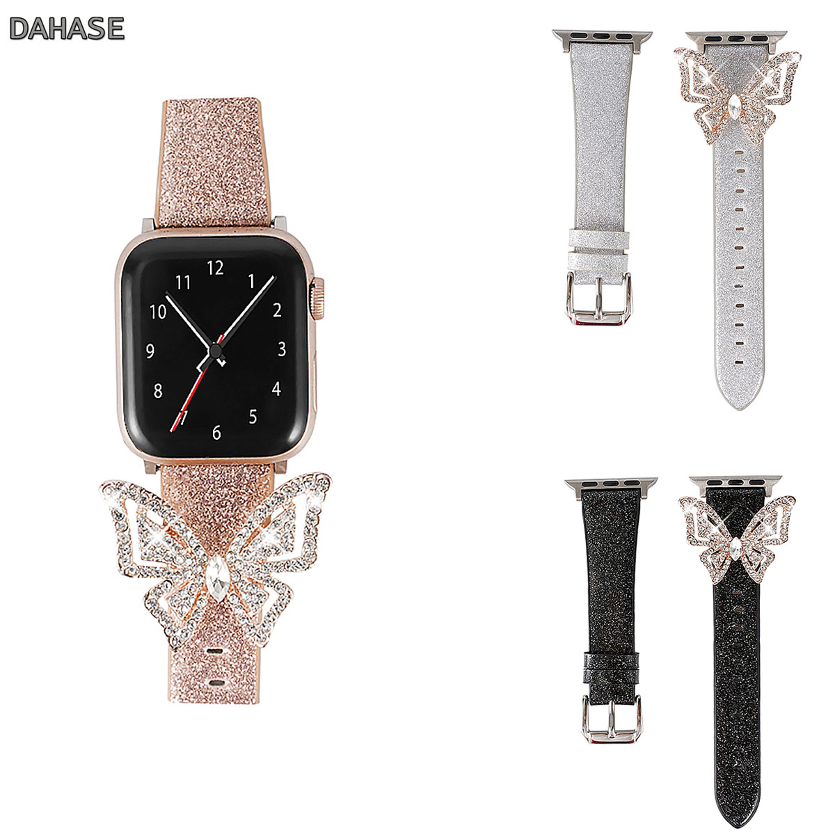 Glitter Butterfly Leather Strap For Apple Watch Band Series 1 2 3 4 5 Women Diamond Bracelet For 38 40 42 44mm IWatch Wristband