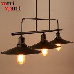 Loft Nordic stół bilardowy lampa Cafe amerykański retro wiatr przemysłowy bar restauracja trzy końcowa pokrywka żelazna lampa wisząca w Wiszące lampki od Lampy i oświetlenie na