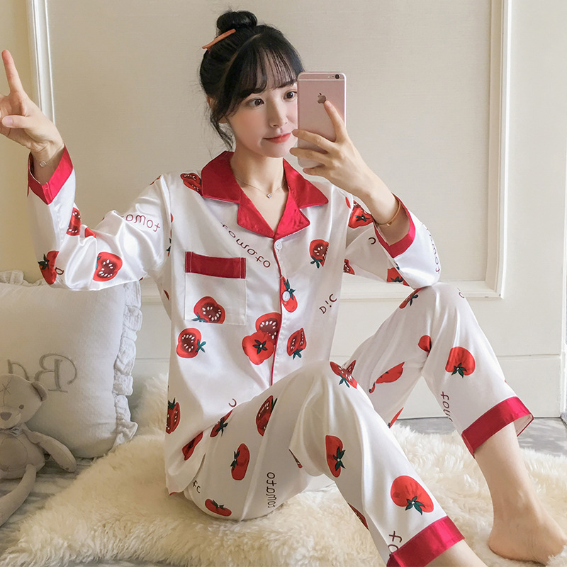 Multi--Multi-color Imitated Silk Pajamas Women's Autumn New Style Silk Long Sleeve Spring And Summer Fold-down Collar Tracksuit