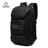 OZUKO Multifunktions Anti-diebstahl Rucksack für Männer Mode Niet Teenager Schul Männlich USB Ladung Wasserdichte Rucksäcke Reisetasche