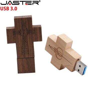 JASTER maple wood Walnut cross model usb3.0 32GB usb flash drive usb3.0 pendrive 4GB 8GB 16GB LOVE U disk
