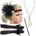 1920s Great Gatsby Party Kostüm Zubehör Set 20s Flapper Feder Stirnband Perle Halskette Handschuhe Zigarette Halter 4 Pcs set