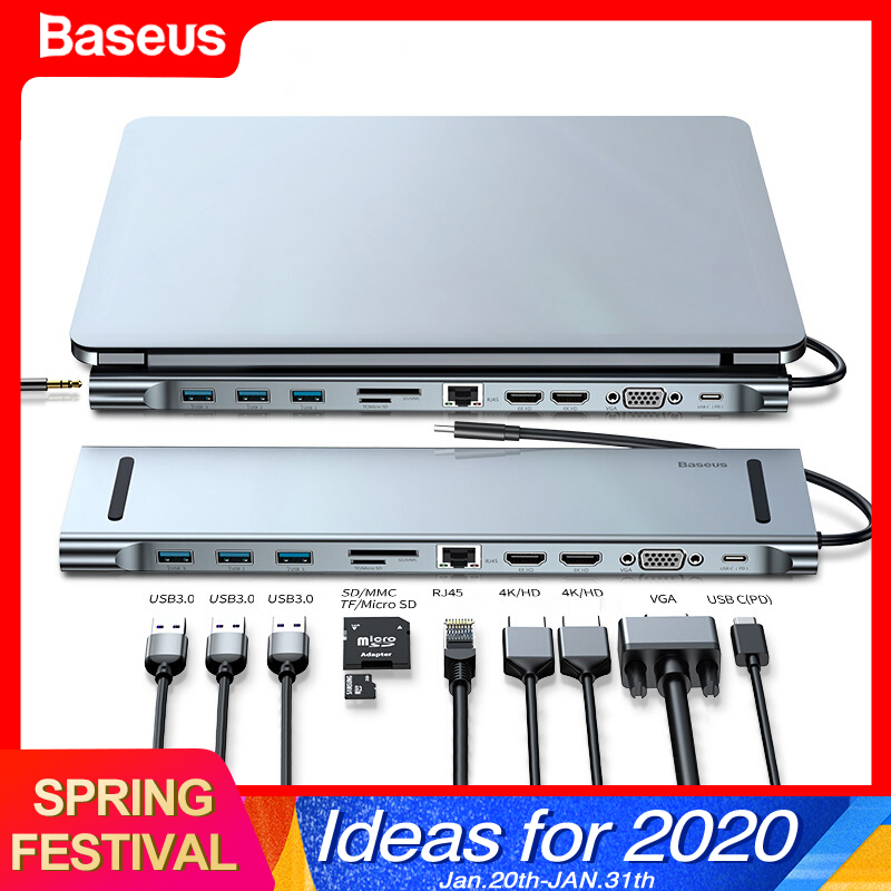 Baseus USB C HUB Type C To HDMI VGA RJ45 Multi Ports USB 3.0 USB3.0 Type-C Splitter For Macbook Pro Air USB-C HUB Power Adapter