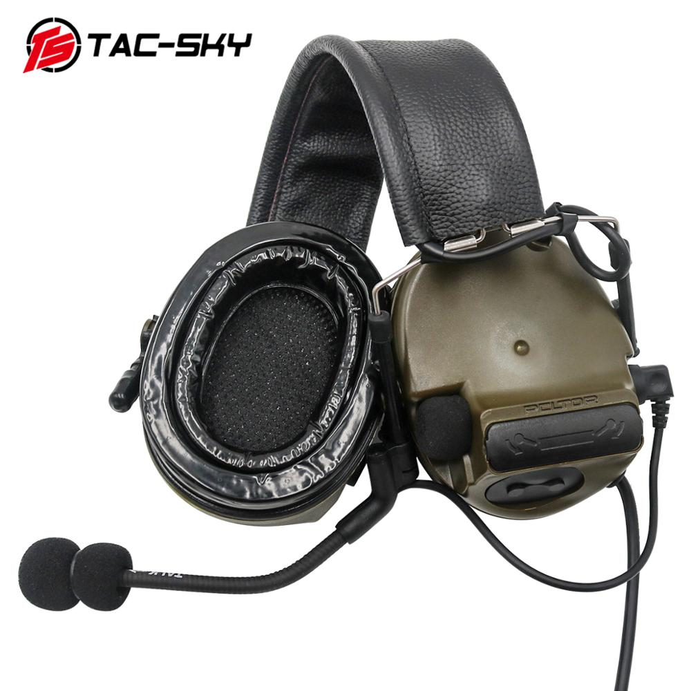 TAC-SKY COMTAC III Silicone Earmuffs Electronic Communication Noise Reduction Pickup Military Tactical Walkie Talkie Headset FG