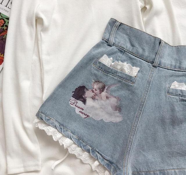 Women  Lace Angel Printed Denim Shorts Cartoon Print High Waist Shorts 3