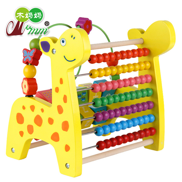 Wood Mom Wooden Toys Multi-functional Deer Bead-stringing Toy Calculation Frame Children'S Educational Bead Toy