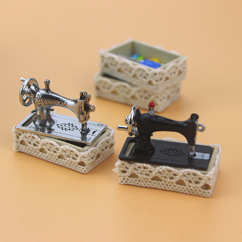 1/12 Dollhouse Miniature Accessories Mini Metal Sewing Machine Set Simulation Furniture Model Toys For Doll House Decoration