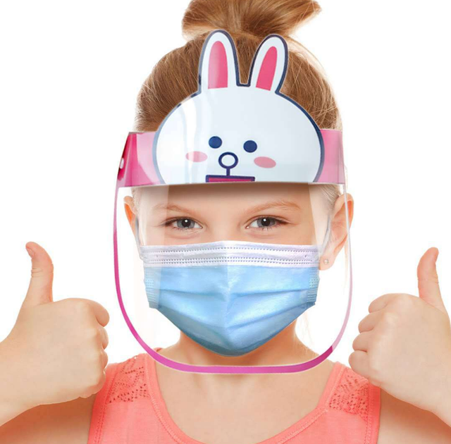Cartoon Safety Face Shield Clear Full Face Mask Reusable Breathable Anti-Saliva Protective Hat Windproof Dustproof Shield 3