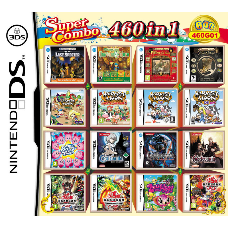 460 В 1 подборка видео игровая карта-картридж консоли мульти to Cart Кирби Bakugan DS NDS NDSL NDSI NDSIXL 3DS Новый 3dsll детские игрушки