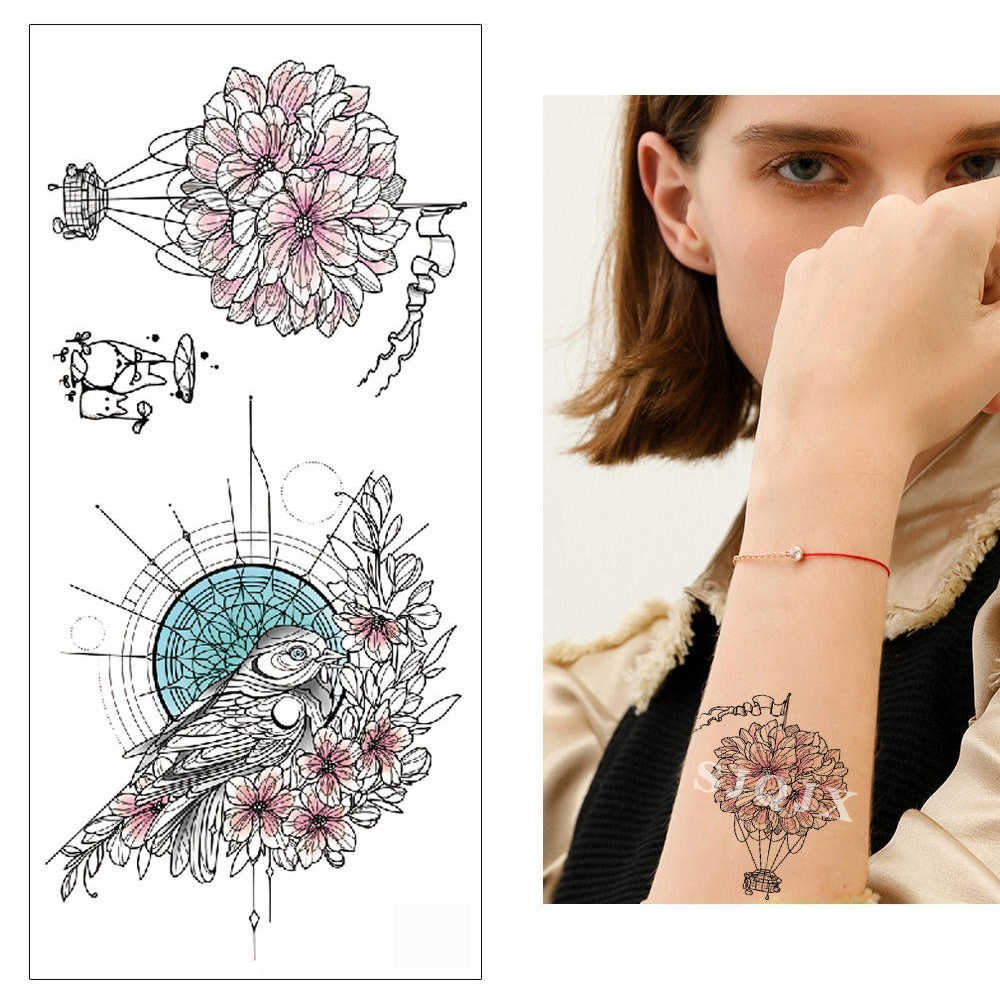 Geçici karikatür dövme çıkartmalar çiçek kuş at maskot kanat suluboya sahte dövmeler minyatür dövme etiket 190*90mm