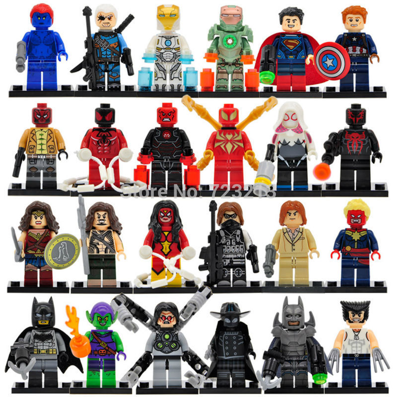 Single Super Hero Spider Man Shazam Figure Aquaman Deathstroke Iron Man MK37 Mystique Building Blocks Models Toys Legoing