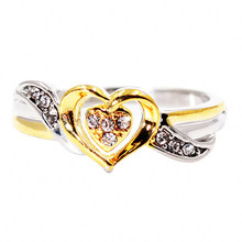 Hollow Two-tone Color Rings Women Creative Heart-shaped Ring Gold-plated Ladies Ring Love Heart Fashion Jewelry For Lovers(China)