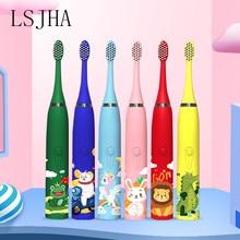 Lsjha sonic criança escova de dentes elétrica padrão dos desenhos animados 3-12 anos de idade limpeza dental 98% bactérias orais 6 a cabeça da escova de dentes
