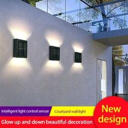 2 pc/lote solar lâmpada de parede ao ar livre jardim casa lâmpada de parede à prova dwaterproof água luz para cima e para baixo jardim decorativo lâmpada de parede