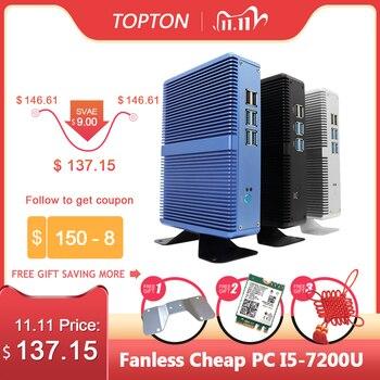 Topton Fanless Mini PC Intel i5 7200U i3 7100U DDR4 DDR3 Nuc Computer Linux Windows 10 Pro 1*mSATA 1*2.5''SATA 4K HTPC HDMI VGA