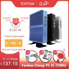 Topton fansız Mini PC Intel i5 7200U i3 7100U DDR4 DDR3 Nuc bilgisayar Linux Windows 10 Pro 1 * mSATA 1*2.5 SATA 4K HTPC HDMI VGA