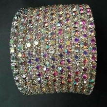 AB CRYSTAL RHINESTONE Multi-ROW SPIRAL BANGLE BRACELET CUFF/CROSSDRESSER/DRAG QUEEN rhinestone detail cuff bracelet
