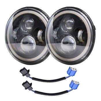 1 Pair 7 INCH 140W LED Headlight Halo Angle Eye for Jeep Wrangler CJ JK LJ 97-18