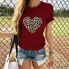 T-shirt manches courtes femme col rond en forme de cœur avec imprimé léopard, hauts-valentin décontracté